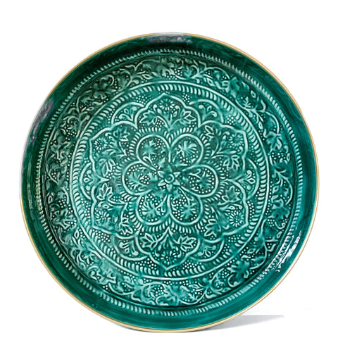 Large Green Embossed Round Tray