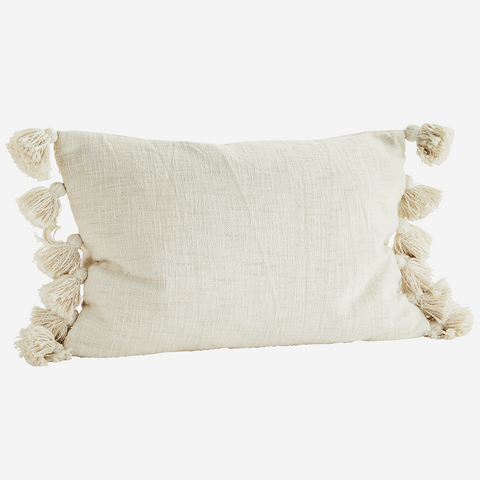Ivory Textured Tassel Cushion 40x60