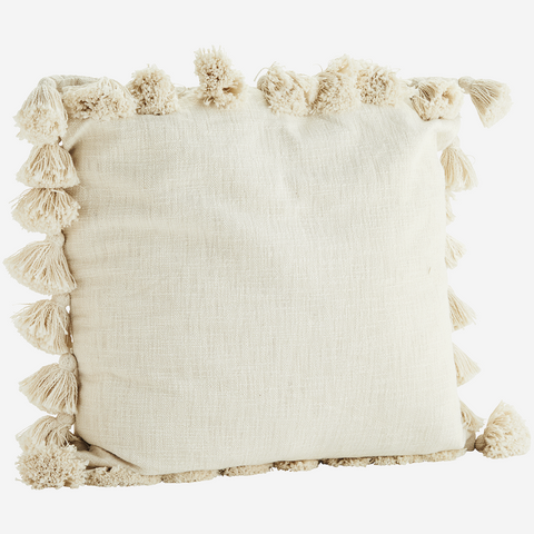 Ivory Large Textured Tassel Cushion