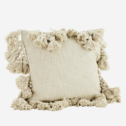 Ivory Textured Tassel Cushion