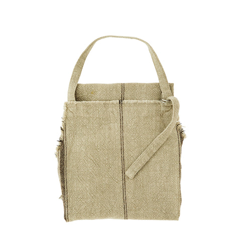 Striped Apron with Fringes in Khaki