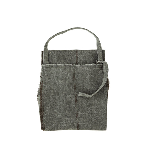 Striped Apron with Fringes in Grey