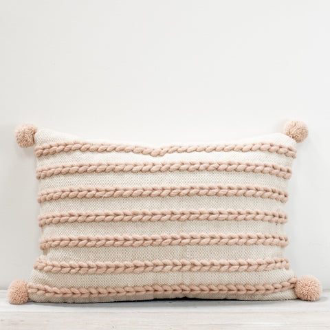 Klim Ivory and Shell Woven Cushion with Pompoms
