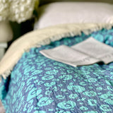 Animal Print Throw with Fleece Lining in Blue