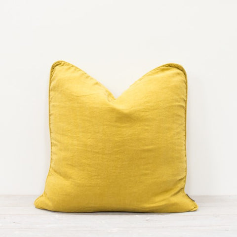 Piped Linen Button Back Cushion in Yellow