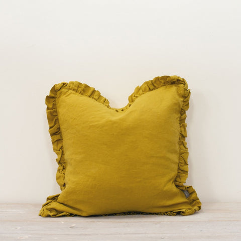 Linen Ruffle Cushion in Citrine