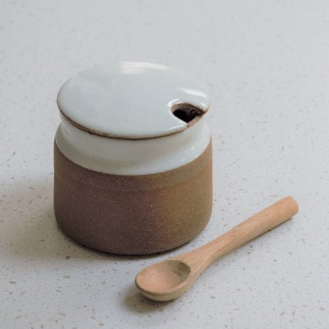Handmade Sugar Pot with Lid and Spoon