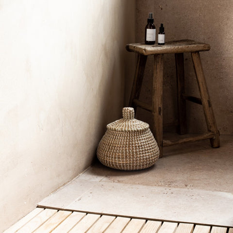 White Lidded Seagrass Basket