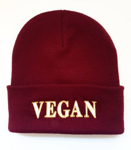 NEW 'Vegan' Burgundy Beanie