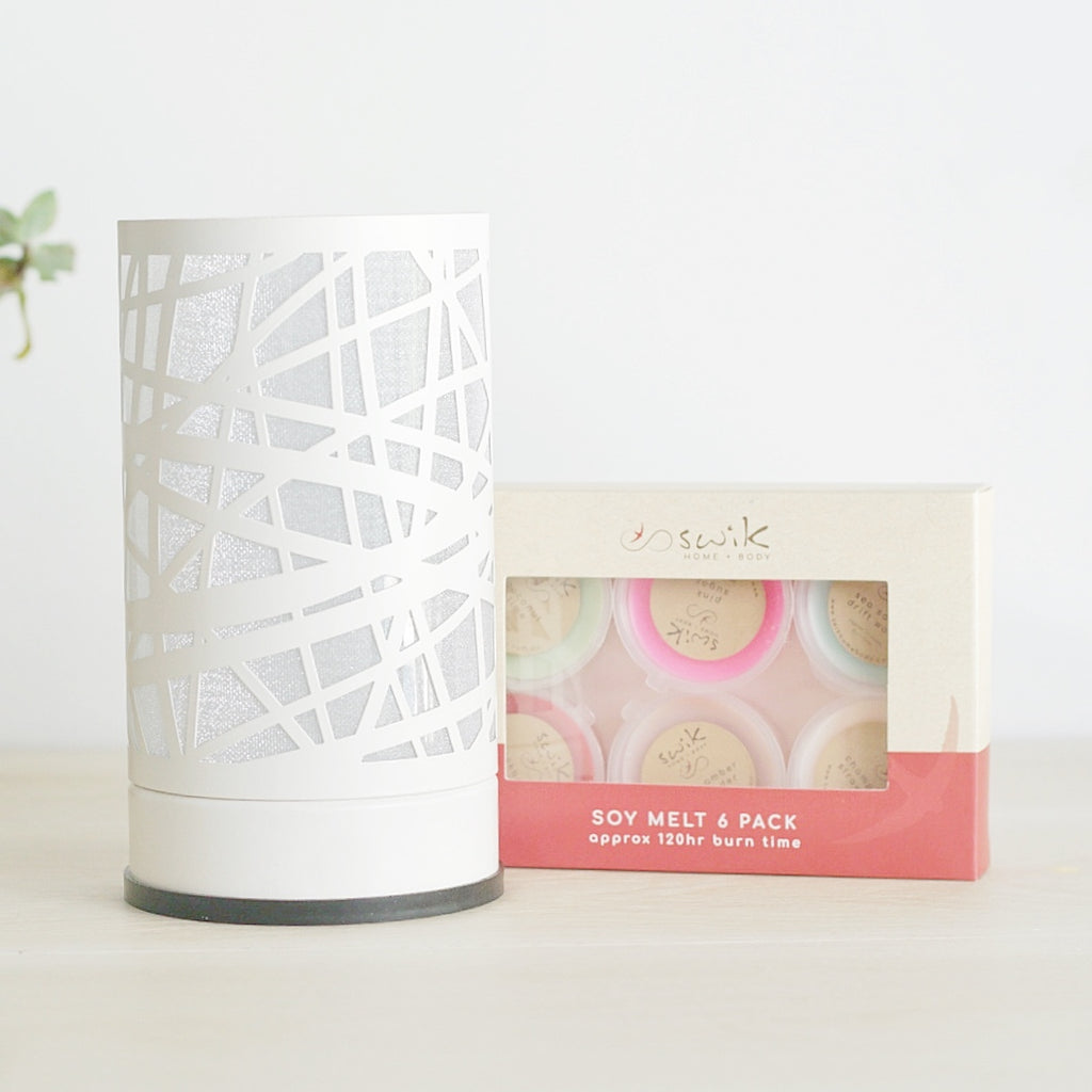 White Swirls  - Touch Lamp Electric Wax Melt Burner + 6 Melts Pack