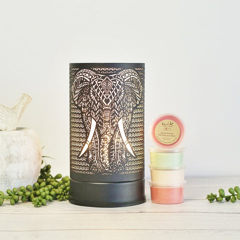 Elephant Black - Touch Lamp Electric Wax Melt Burner + 3 Melts Pack