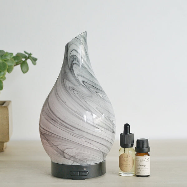 Ultrasonic Diffuser ~ Glass Grey Marble