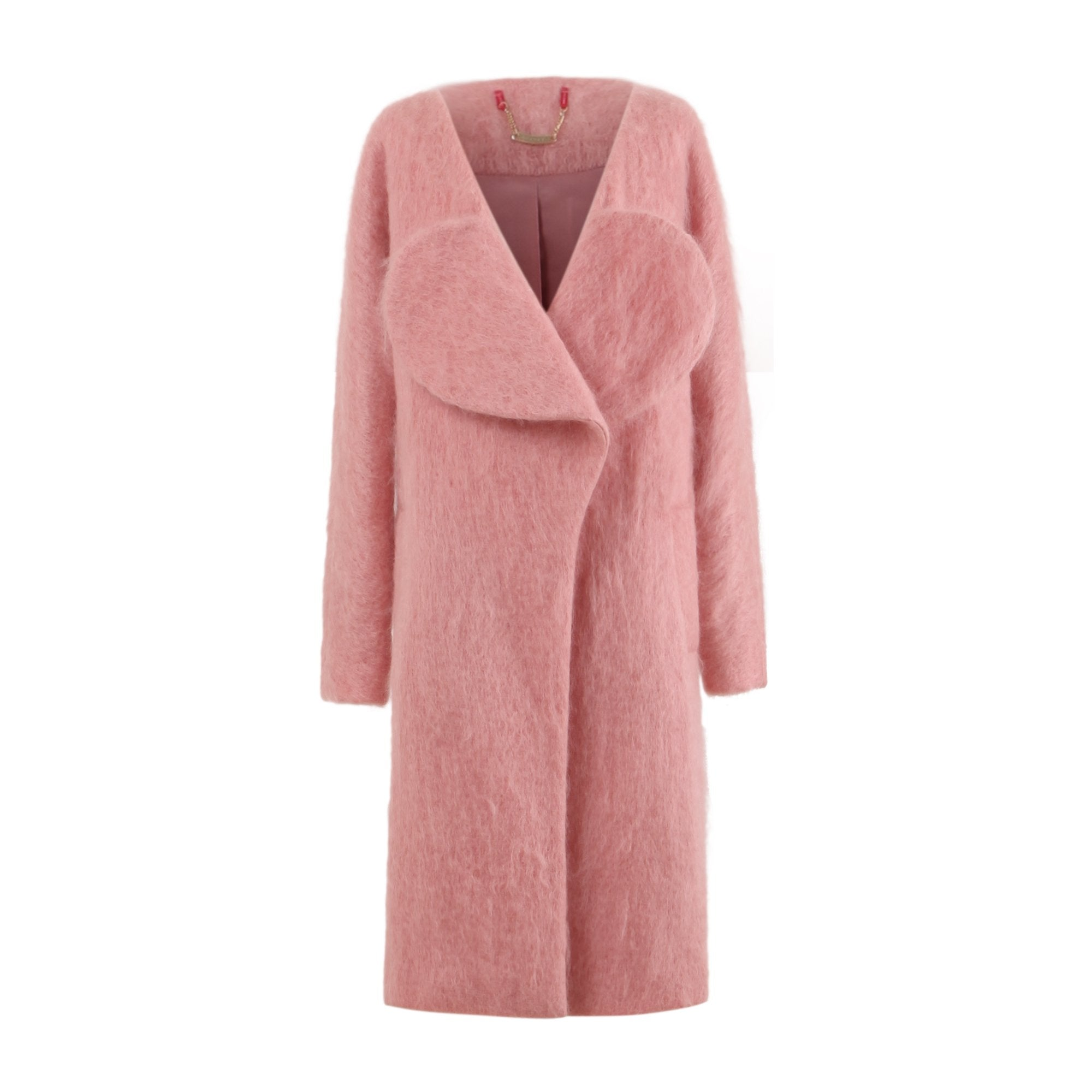 Lovuee Heart Collared Mohair Coat [Yellow/ Pink]