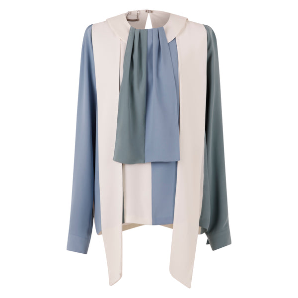 Copy of Lovuee Color Block Scarf collared Blouse with Tie panels (Blue/White/Green)