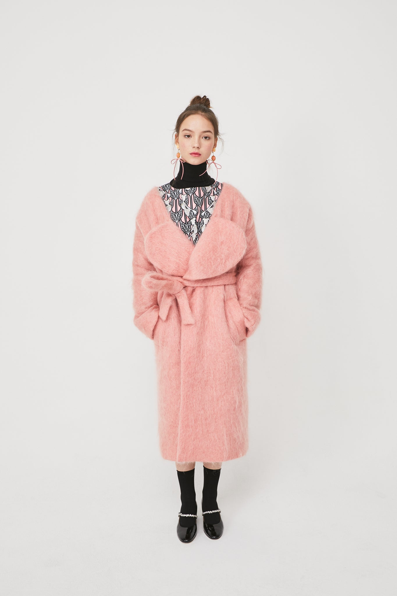 Lovuee Heart Collared Mohair Coat [Pink]