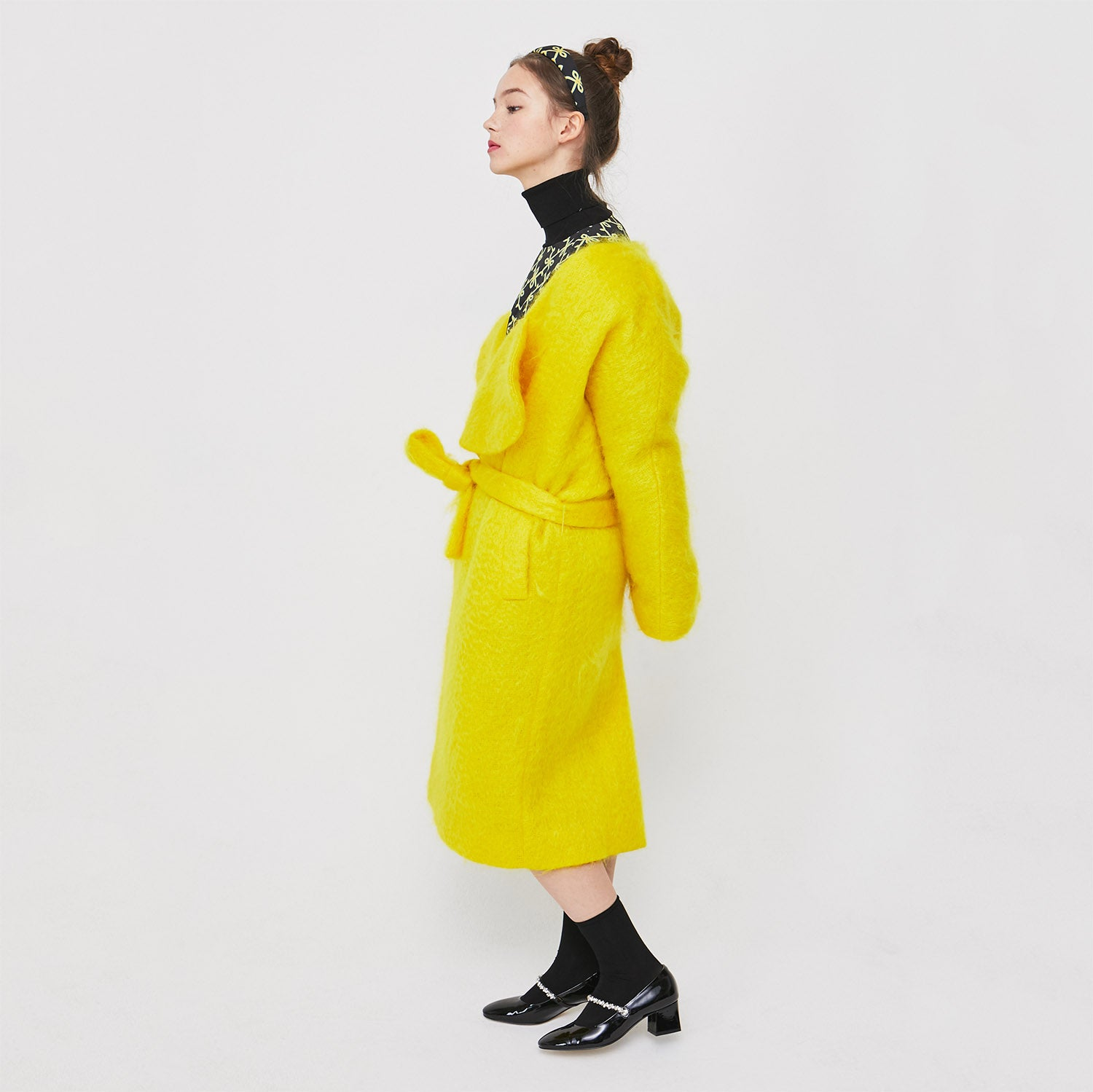 Lovuee Heart Collared Mohair Coat [Yellow]