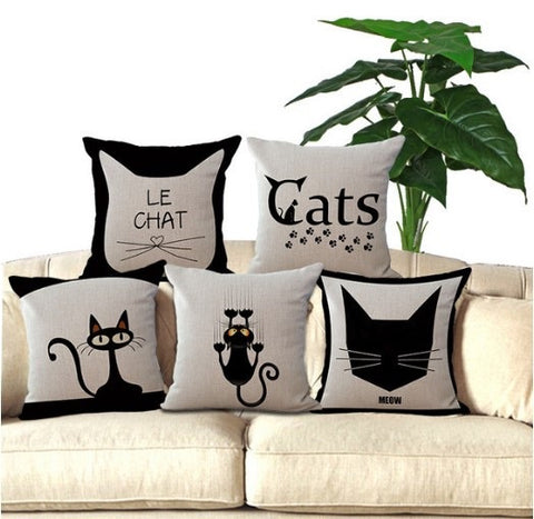 Superior Cat Printed Decorative Sofa Throw Pillow