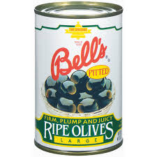 Bell's  Ripe  Pitted  Black  Olives,  6oz.  Cans