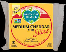 Follow Your Heart Medium Cheddar Style Cheese Slice, 7 Ounce