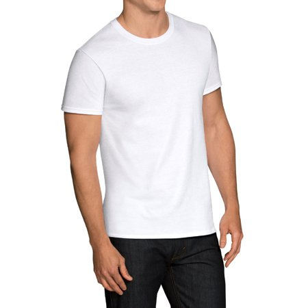 Fruit of the Loom Men's Short Sleeve White Crew T-Shirts, 6 Pack (16 OZ)