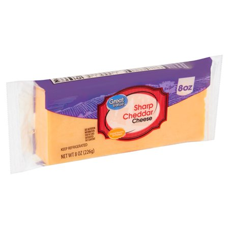 Great Value Sharp Cheddar Cheese 8 oz.