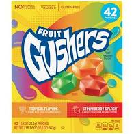 Gushers Strawberry Splash and Tropical Flavor Fruit Snacks,