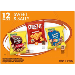 Keebler Chips Deluxe Rainbow Cheez-It & Fudge Stripes Variety Snack Pack 12 ct