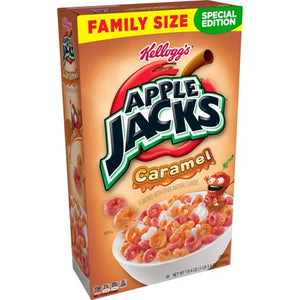 Kellogg's Apple Jacks, Breakfast Cereal, Caramel, Family Size, 19.4 Oz