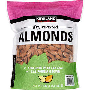Kirkland Dry Roasted Seasoned with sea salt Almonds, 40 oz.