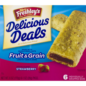 "Mrs.Freshley""s Breakfast Fruit Cereal Bar 6 ct"