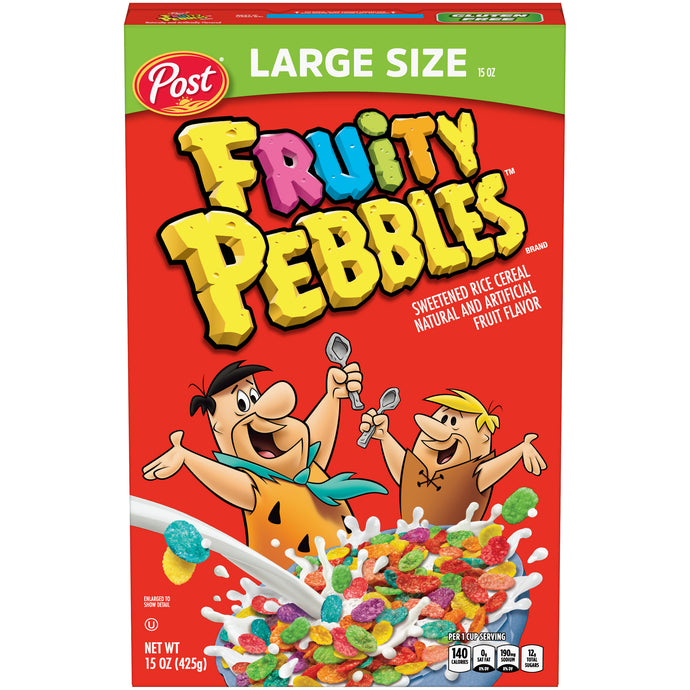 Post Fruity PEBBLES Cereal, Gluten Free,15 Ounce