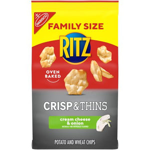 RITZ Crisp & Thins Cream Cheese & Onion Chips, Family Size, 10 oz