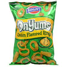 Rudolph's OnYums Onion-Flavored Ring Chips, 3 oz. Bags