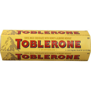 TOBLERONE HONEY & ALMOND NOUGAT MILK CHOCOLATE BAR 6 CT