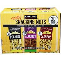 VARIETY SNACKING NUTS 48 OZ 30 PACK CASHEW, PEANUTS, ALMOND