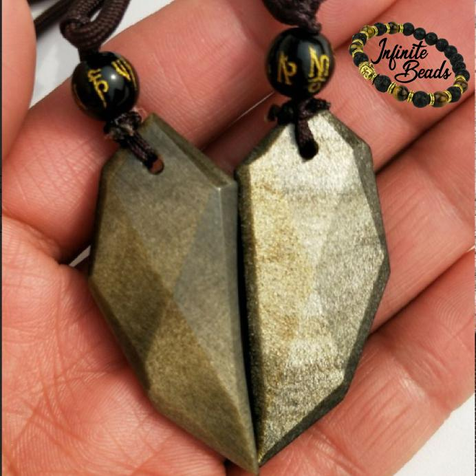 Gold Obsidian Pendant Friendship Heart