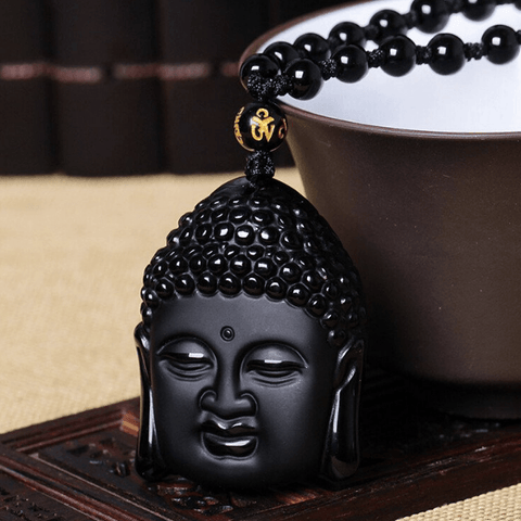 Obsidian Buddha Head Pendant & Necklace