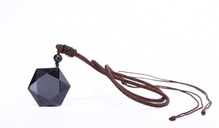 Blue Sandstone Geometric Pendant and Necklace
