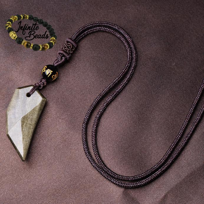 Gold Obsidian Pendant & Necklace