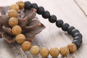 Natural Rosewood & Pure Matte Onyx Mindfulness Beads