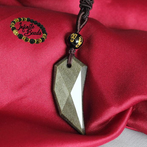 Gold Obsidian Pendant on cloth