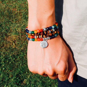 7 Chakra, Tree Of Life, Tigers Eye 108 Mala Bracelet
