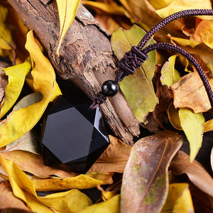 Pure Obsidian Geometric Pendant and Necklace
