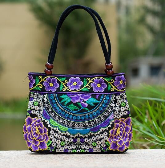Authentic Thai Hand Embroidered Womens Shoulder Bag