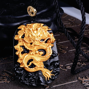 Gold Inlaid, Obsidian Dragon Pendant