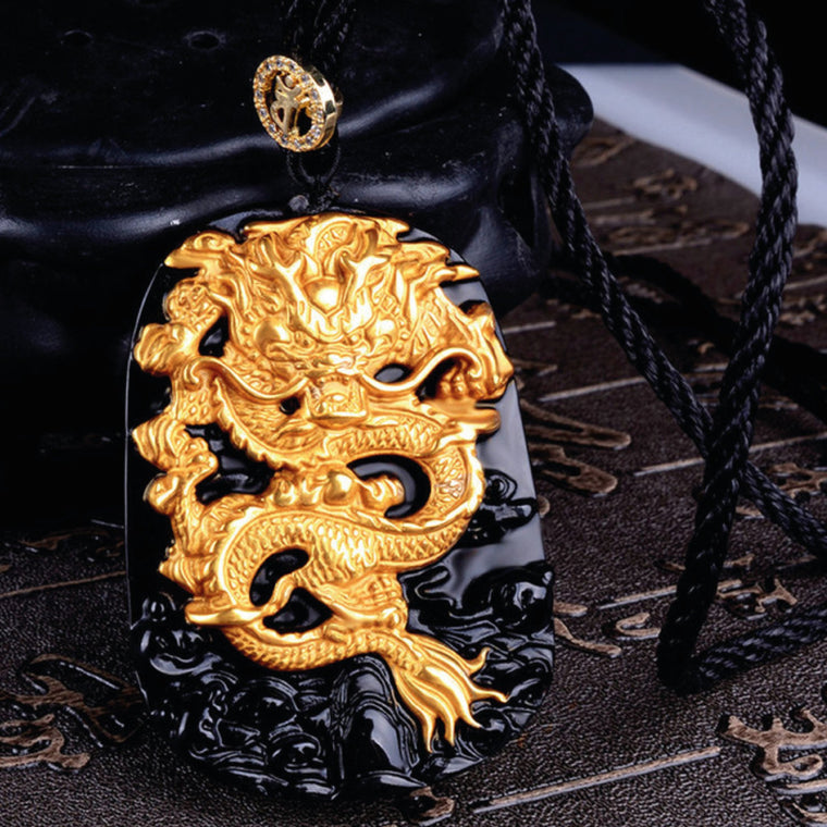 18 Karat, Gold Inlaid, Obsidian Dragon Pendant