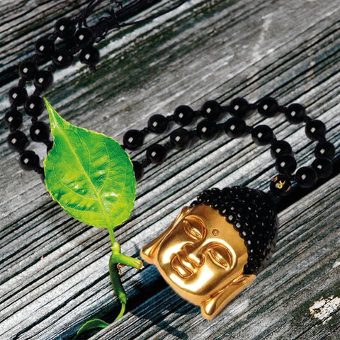 Gold Plated, Obsidian Buddha Head Pendant & Necklace