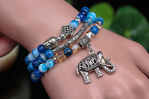Natural Blue Lace Agate Wrap Around Charm Bracelet