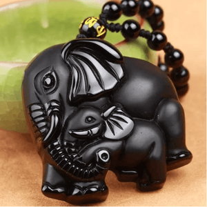 Elephant Necklace Obsidian