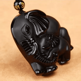 Pure Obsidian, Mother & Baby Elephant Pendant & Necklace